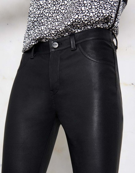 Skinny jean Nelly cuir - BLACK
