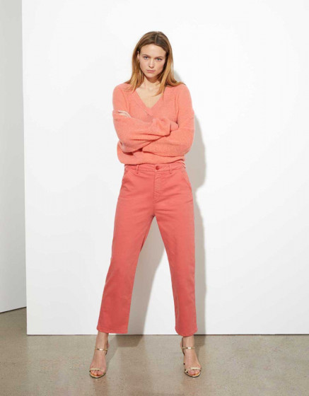 Pantalon chino sandy high waist cropped - cayenne