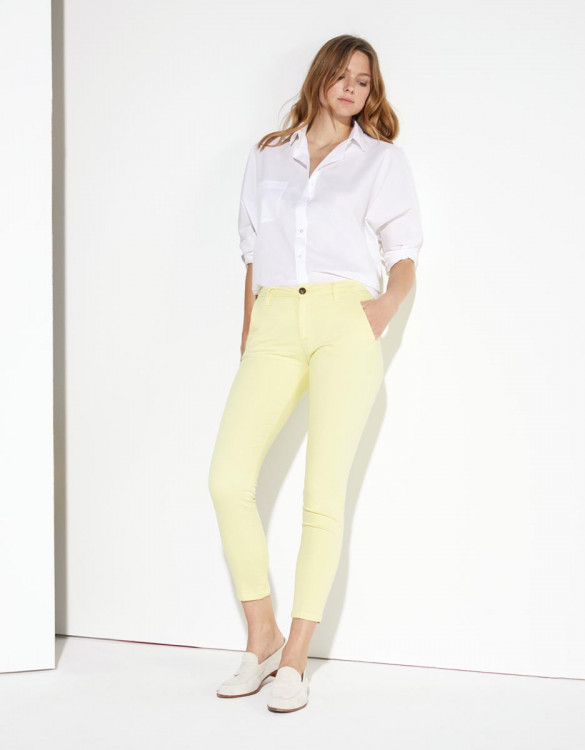 Pantalon chino Sandy Cropped - SORBET BANANE