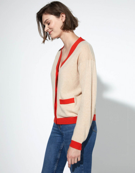 Cardigan Petra - CAMEL / RED ORANGE