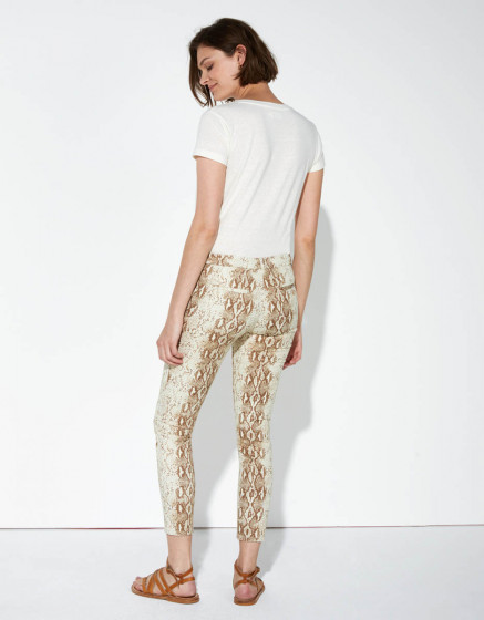 Pantalon chino Sandy Cropped Printed - CAMEL SNAKE