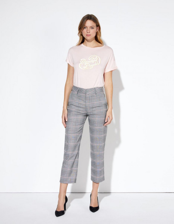 Pantalon cigarette Liv Straight Cropped - SPARKLE CHECKS