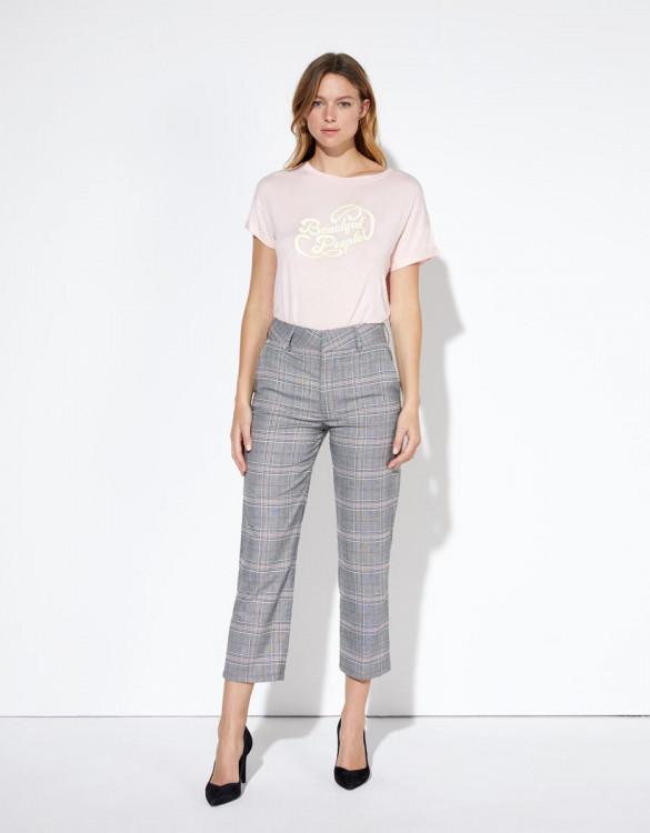 Cigarette trousers Liv Straight Cropped - SPARKLE CHECKS