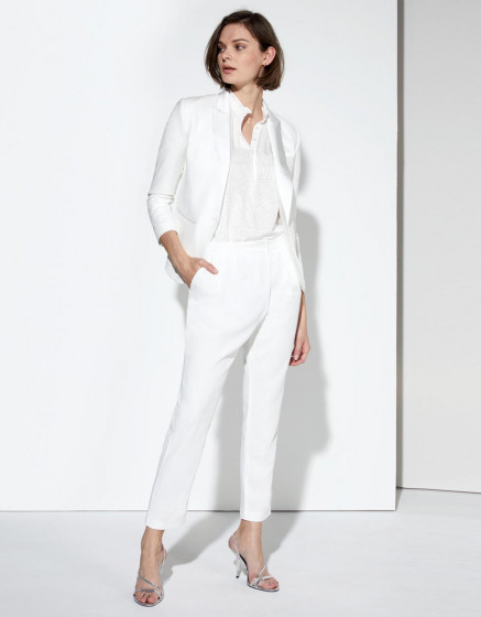 Loose cigarette trousers Luna Color - WHITE