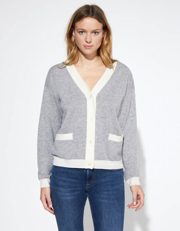 Cardigan Petra - GRINE CHINE / OFF WHITE