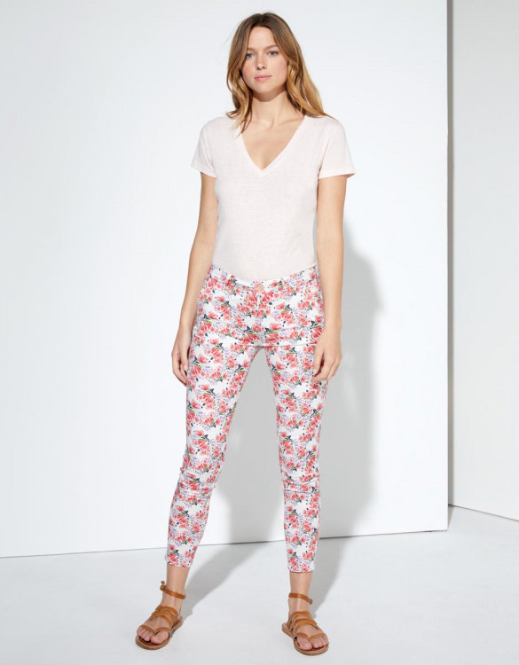 Chino trousers Sandy Cropped Printed - NEON PEONIES