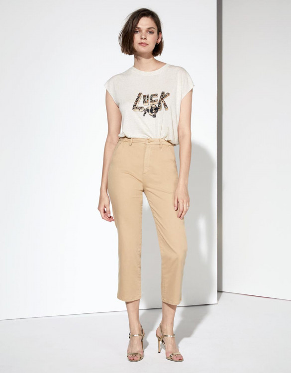 Chino trousers Sandy Highwaist Cropped - BEIGE