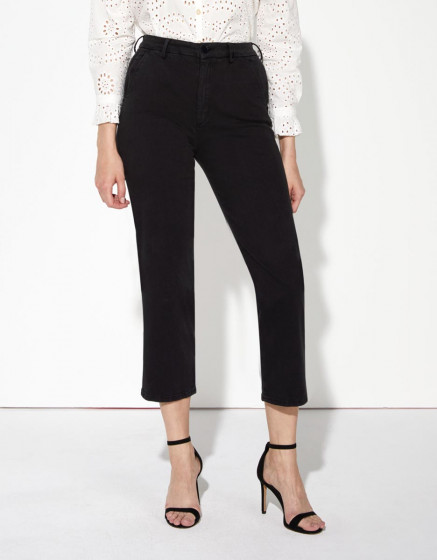 Chino trousers Sandy Highwaist Cropped - BLACK