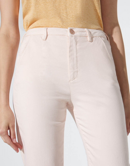 Chino trousers Sandy High waist Cropped - BABY PINK