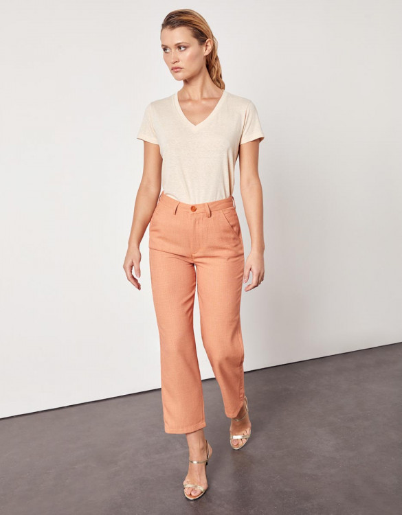 Chino high waist cropped trousers Sandy High Waist - VINTAGE GEO