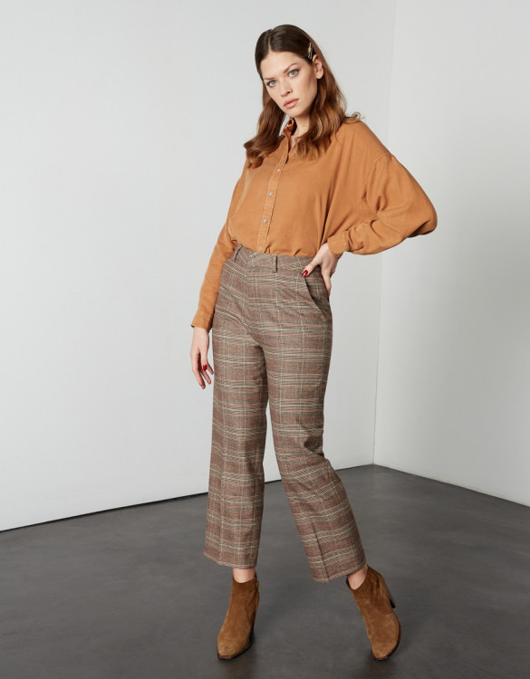 Pantalon cigarette straight cropped Lary Fancy - CAMEL CHECKS