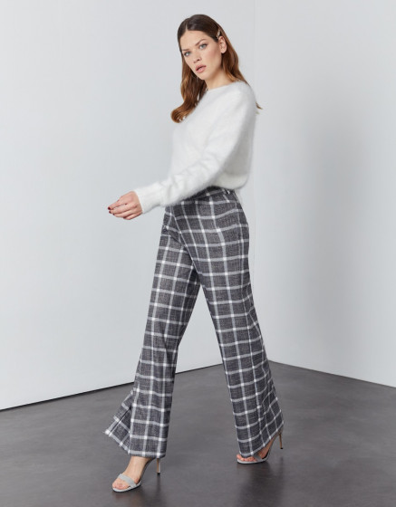 Pantalon wide Pamelo Fancy - SILVER CHECKS