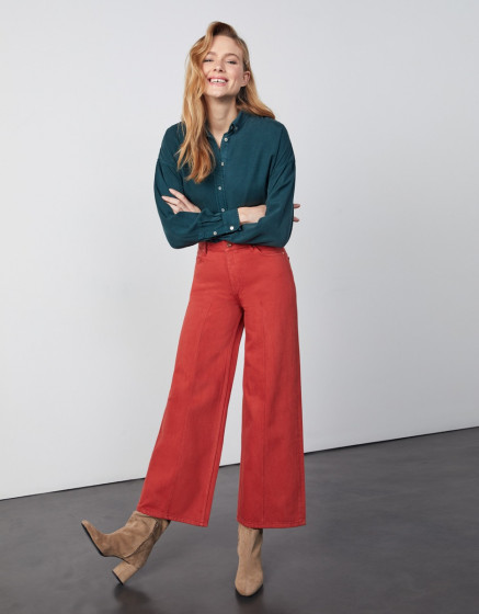 Wide jean Poppy Color - MARSALA