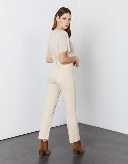 High waist cropped jean Milo Color - DESERT SAND