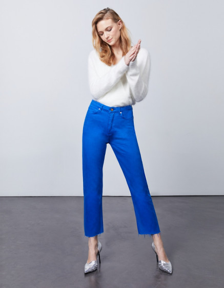 Jean taille haute cropped Milo Color - COBALT BLUE