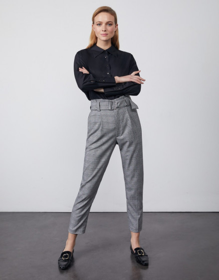 High waist  trousers Ava Fancy - DOTED HOUNDSTOOTH