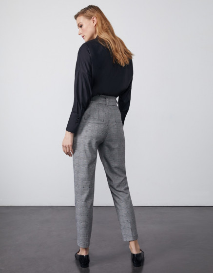 Pantalon cigarette taille haute cropped Ava Fancy - DOTED HOUNDSTOOTH
