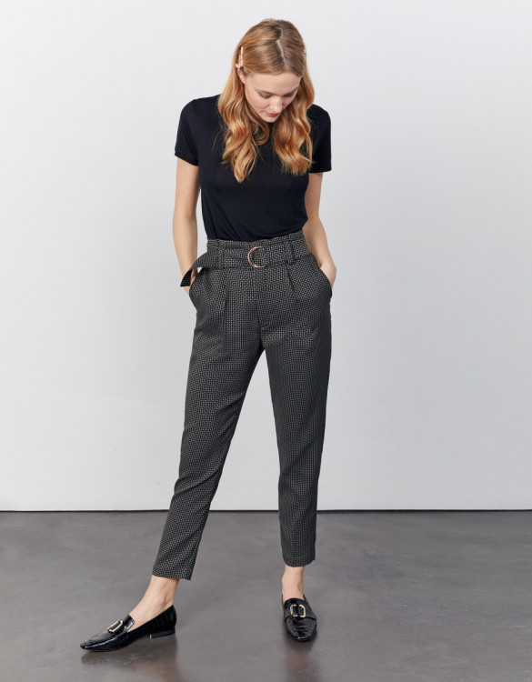 High waist cigarette cropped trousers Ava Fancy - BLACK DIAMOND