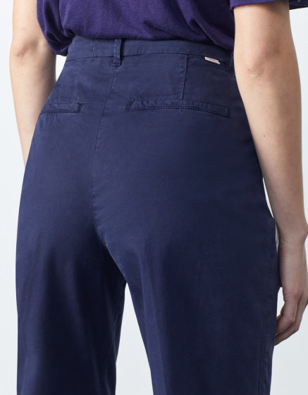 Chino high waist cropped Ambre - DARK NAVY