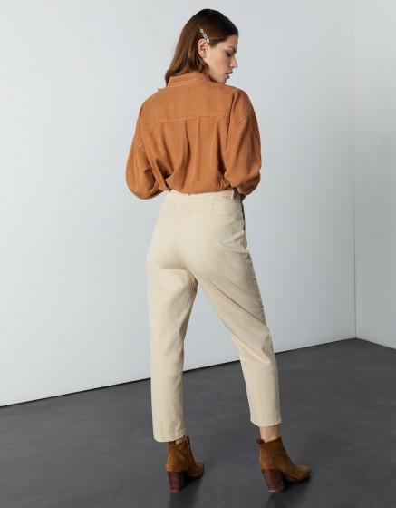 Chino high waist cropped Ambre - LIGHT SAND