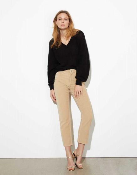 High waist trousers Milo Velvet - BEIGE