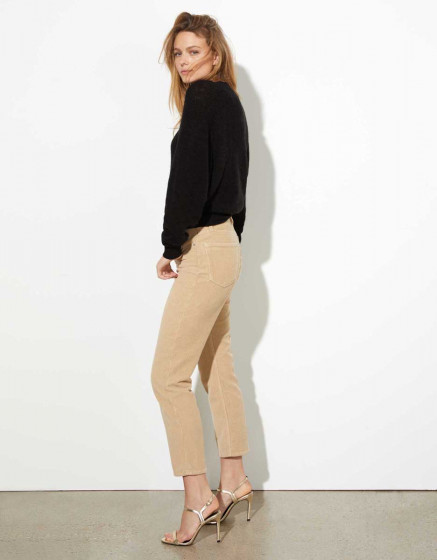 High waist trousers Milo Velvet - BEIGE