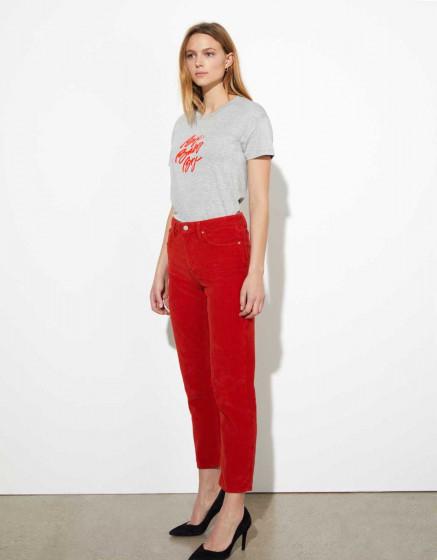 High waist trousers Milo Velvet - TERRACOTTA
