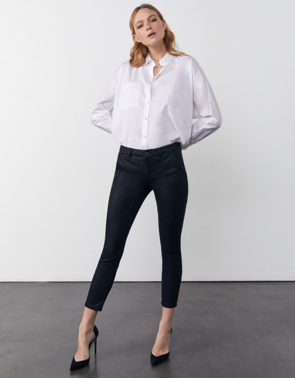 Pantalon chino cropped printed Sandy Cropped Printed - BLACK STRIPED