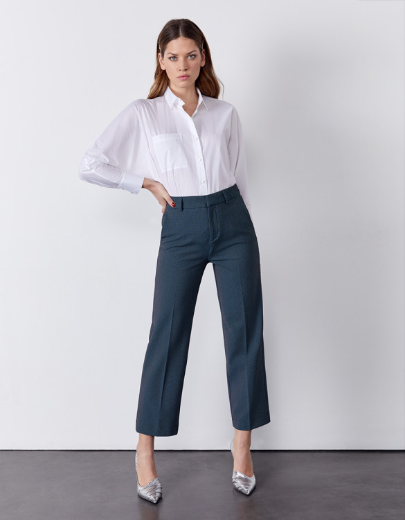Cigarette straight cropped trousers Lary Fancy - INDIGO DOTS
