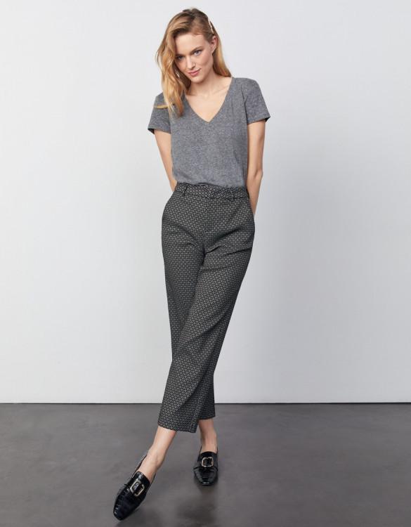 Pantalon cigarette straight cropped Lary Fancy - BLACK DAISY