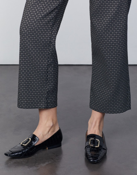 Cigarette straight cropped trousers Lary Fancy - BLACK DAISY