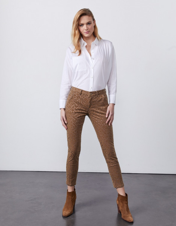 Pantalon chino cropped printed Sandy Cropped Printed - TAUPE LEOPARD