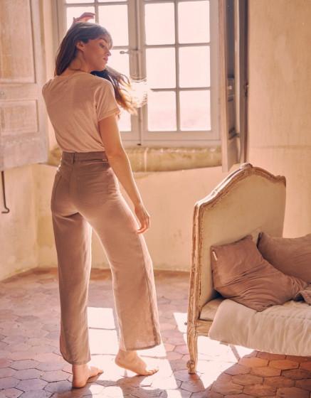 Pantalon wide Ellie Linen - STONE