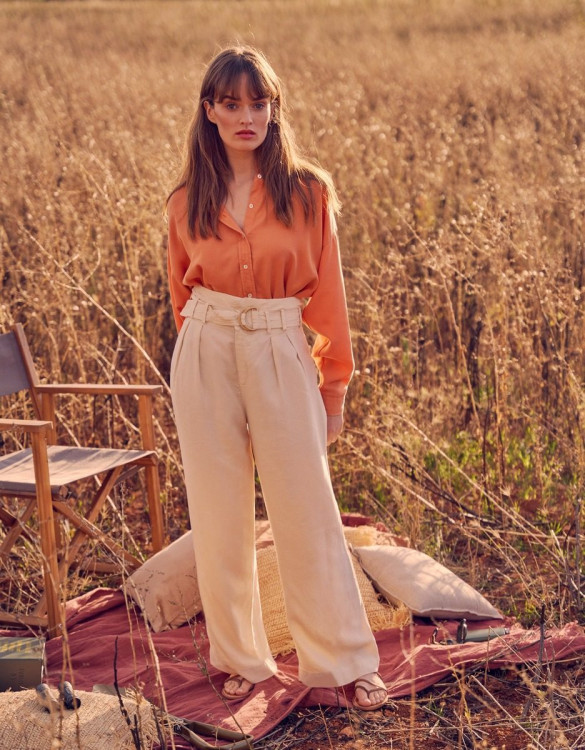 Wide trousers Gaby Linen - SHELL