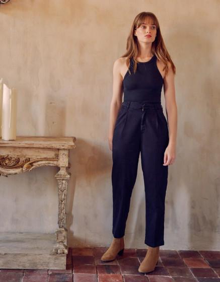 High waist chino Ambre - BLACK