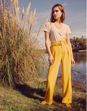 Wide trousers Gaby Linen - MIMOSA