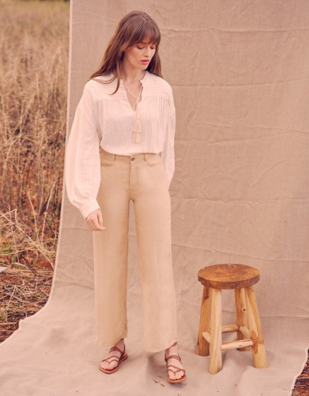 Pantalon wide Ellie Linen - LIGHT SAND