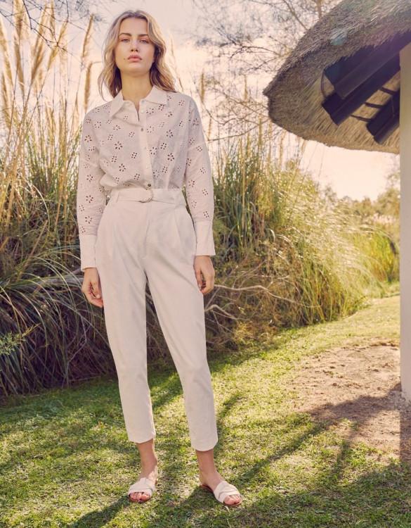 Pantalon cigarette taille haute Ava Color - WHITE