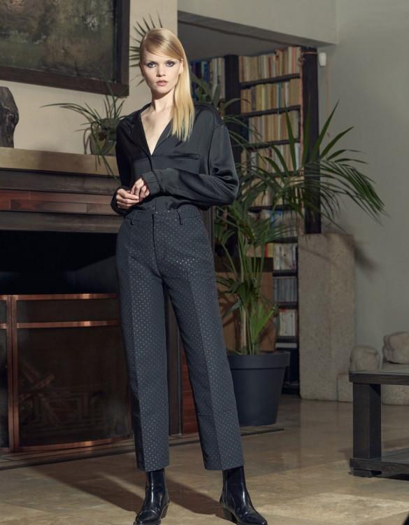 Pantalon cigarette taille haute Lauris fancy - MIDNIGHT DOTS