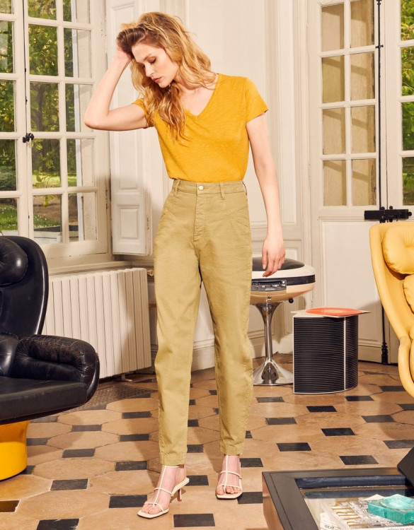 Pantalon taille haute Nicola Color - MILITARY OLIVE