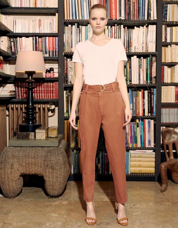 Pantalon cigarette taille haute Ava Color - FIRED BRICK