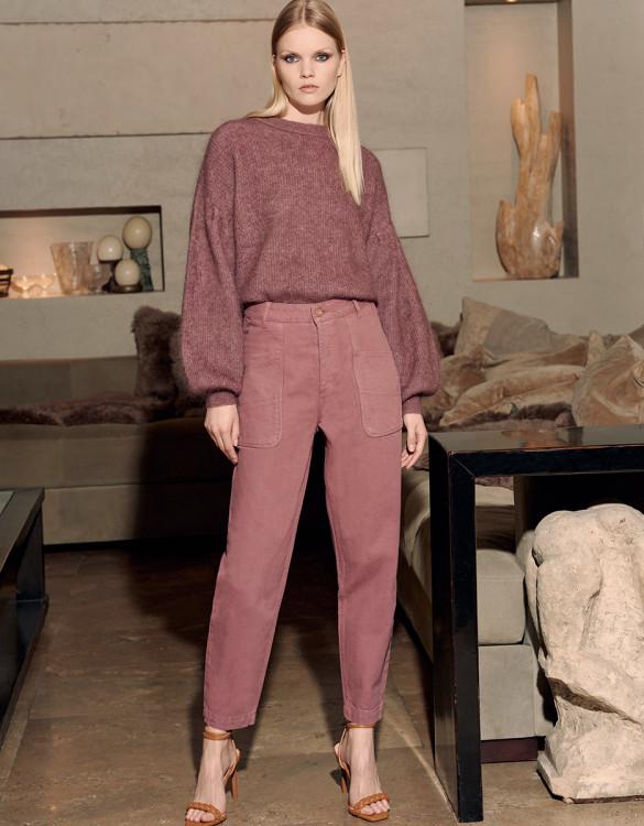 High waist trousers Naomi Color - PURPLE GREY