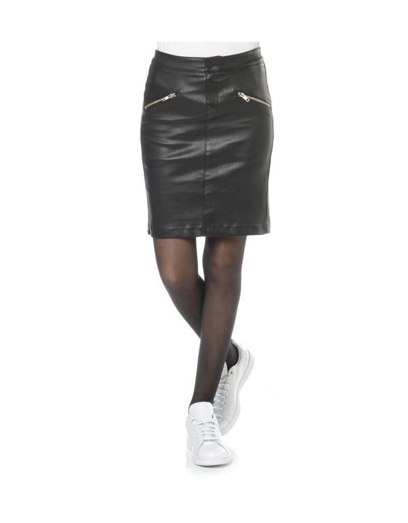 REIKO Jaya leather skirt - BLACK