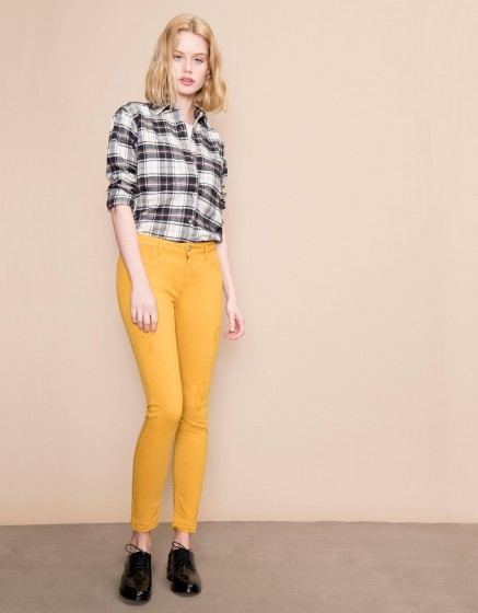 Colored skinny cropped trousers Lily - CUMIN