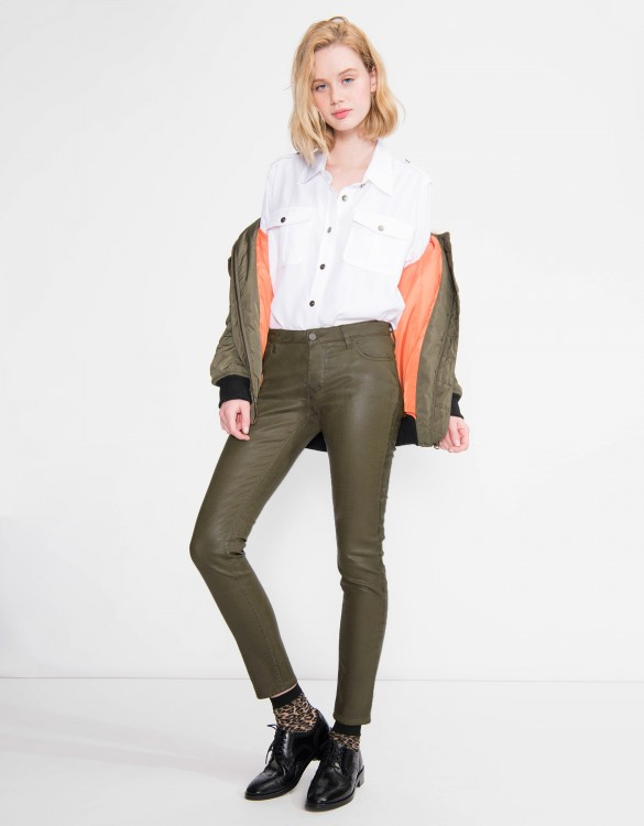 Skinny enduction trousers Nelly - KAKI