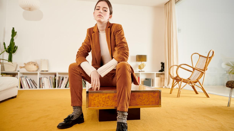 Pantalon cigarette Lizzy Velvet - CHAMOIS