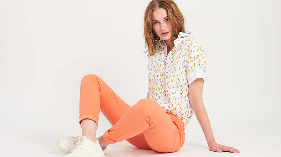 Light Chino trousers Pam - FLAMINGO